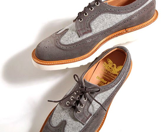 Heather Grey Wall x Mark McNairy Long Wing Tip Shoes