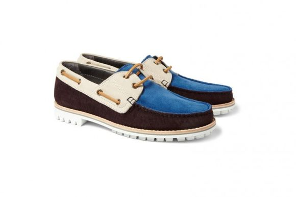 Lanvin Suede and Nubuck Boat Shoes